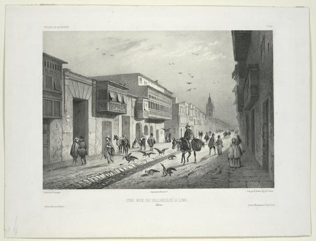 Une rue de Valladolid à Lima.  (Pérou).