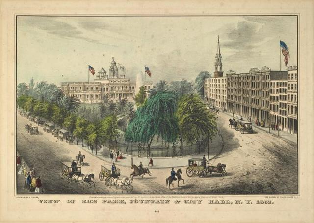 View of the Park, Fountain & City Hall, N.Y. 1851. 401