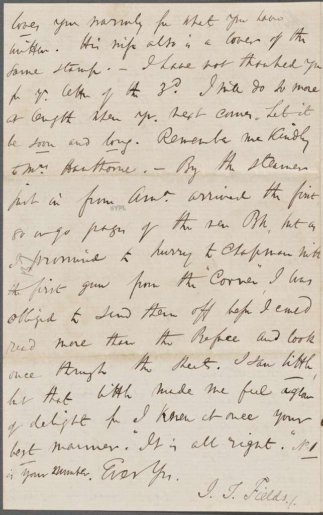 Fields, J. T., ALS, to NH. Jun. 3, 1852.