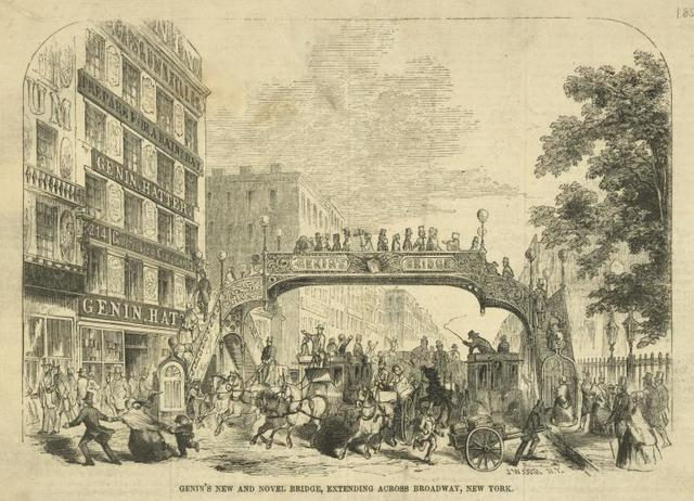 Genin's new and novel bridge, extending across Broadway, New York