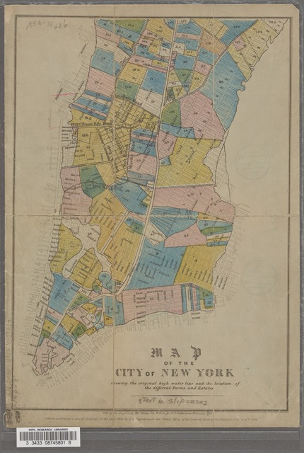Map of the city of New York, shewing the original high water line and the location of the different farms and estates.