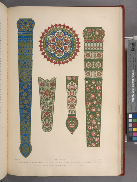 Specimens of Indian enamelling, selected from the arms desplayed in the great exhibition.
