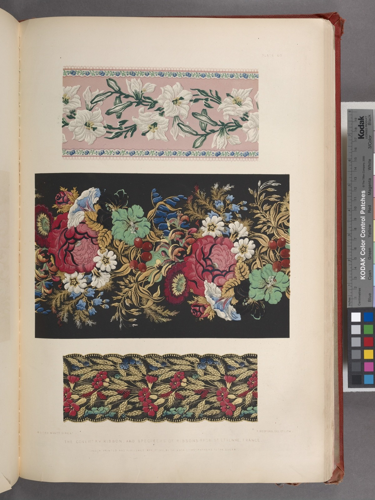 The Coventry ribbon, and specimens of ribbons from St. Etienne, France.