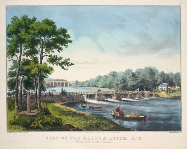 View on the Harlem River, N.Y. The High Bridge in the distance
