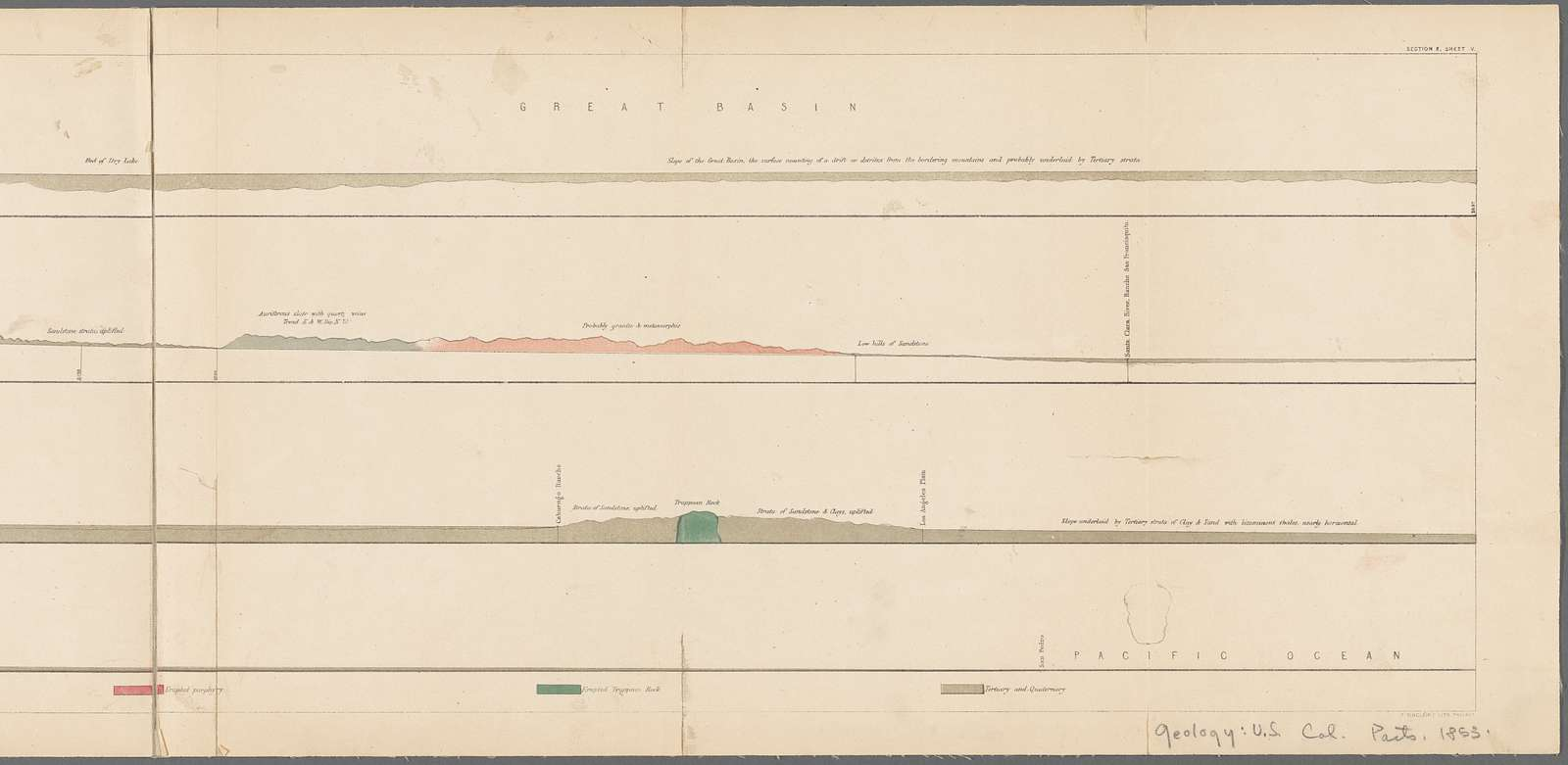 Geological section of the Bernardino Sierra : explored by Lieut. R.S. Williamson, U.S. Top. Engrs. in 1853 from the Great Basin to the Pacific Ocean at San Pedro