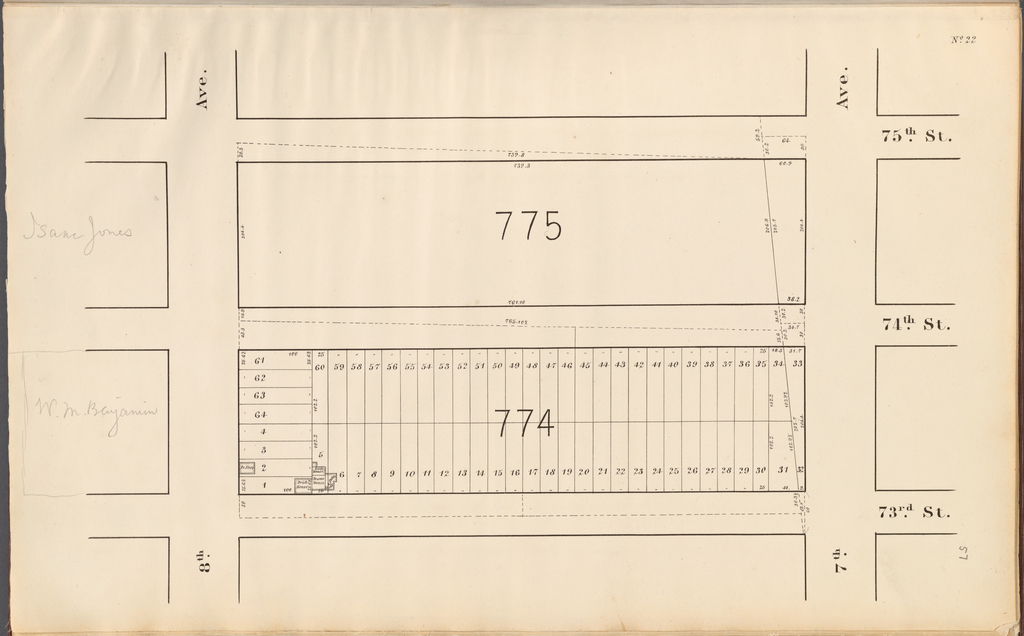 Central Park Planning Map No. 22: Bounded by 75th Street, 7th Avenue, 73rd Street and 8th Avenue
