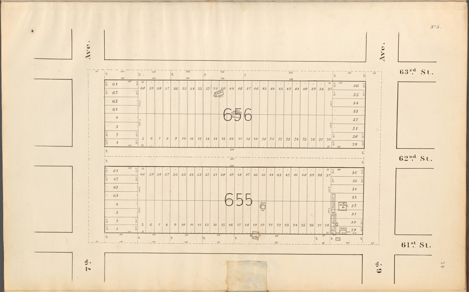 Central Park Planning Map No. 5: Bounded by 63rd Street, 6th Avenue, 61st Street and 7th Avenue
