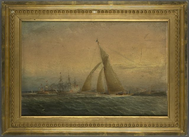 Oil painting marine, off Governor's Island, with view of the Fort, racing sloop, frigate, etc.