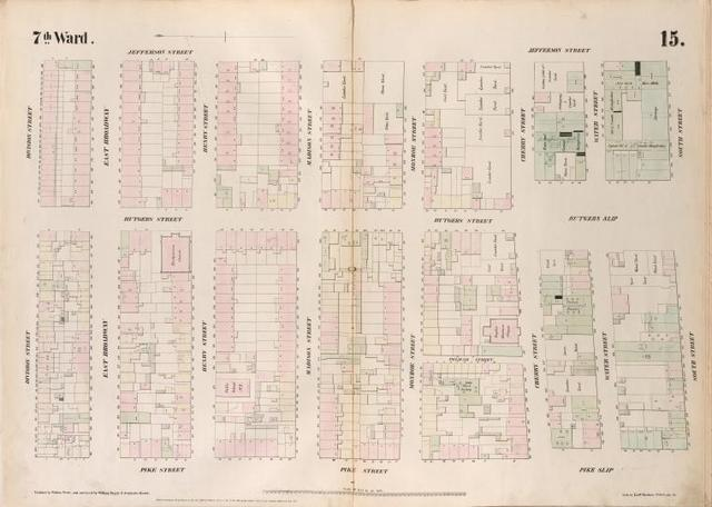 [Plate 15: Map bounded by Division Street, Jefferson Street, South Street, Pike Slip, Pike Street.]