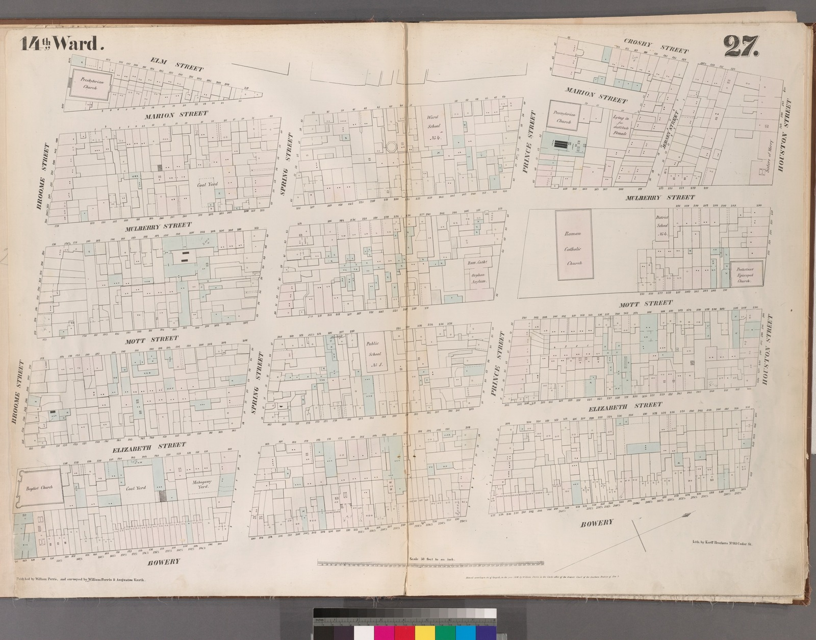 [Plate 27: Map bounded by Houston Street, Bowery, Broome Street, Elm Street, Prince Street, Crosby Street.]