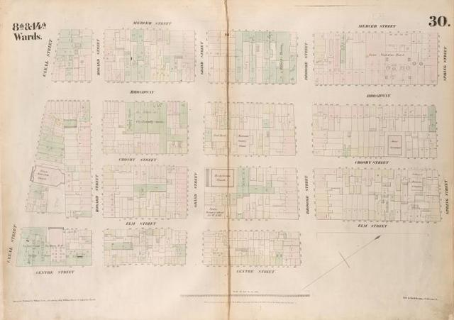 [Plate 30: Map bounded by Spring Street, Elm Street, Broome Street, Centre Street, Canal Street, Mercer Street.]