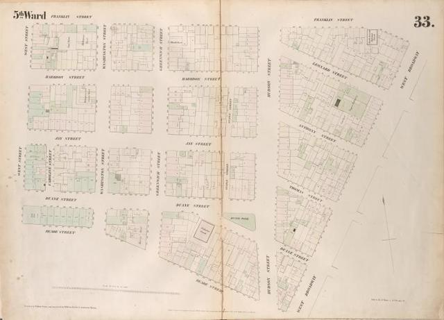 [Plate 33: Map bounded by Franklin Street, West Broadway, Reade Street, West Street.]