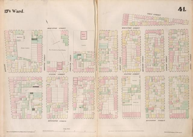 [Plate 41: Map bounded by Houston Street, Allen Street, First Street, Essex Street, Rivington Street, Bowery.]