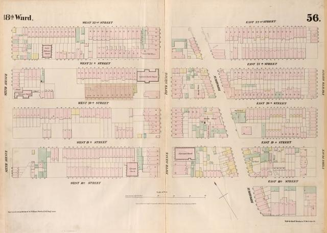 [Plate 56: Map bounded by West 22nd Street, East 22nd Street, Fourth Avenue, Union Place, East 17th Street, Broadway, West 18th Street, Sixth Avenue.]