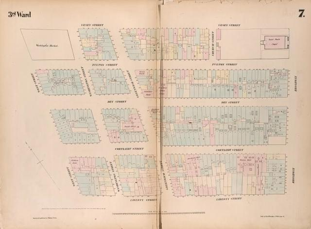 [Plate 7: Map bounded by Vesey Street, Broadway, Liberty Street, West Street.]