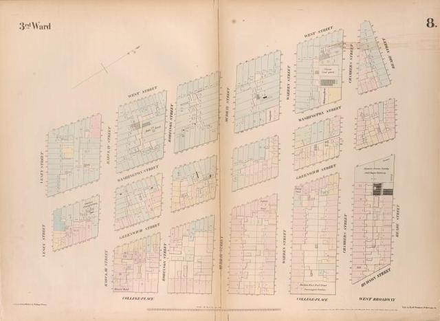 [Plate 8: Map bounded by West Street, Reade Street, Hudson Street, College Place, Barclay Street, Greenwich Street, Vessey Street.]