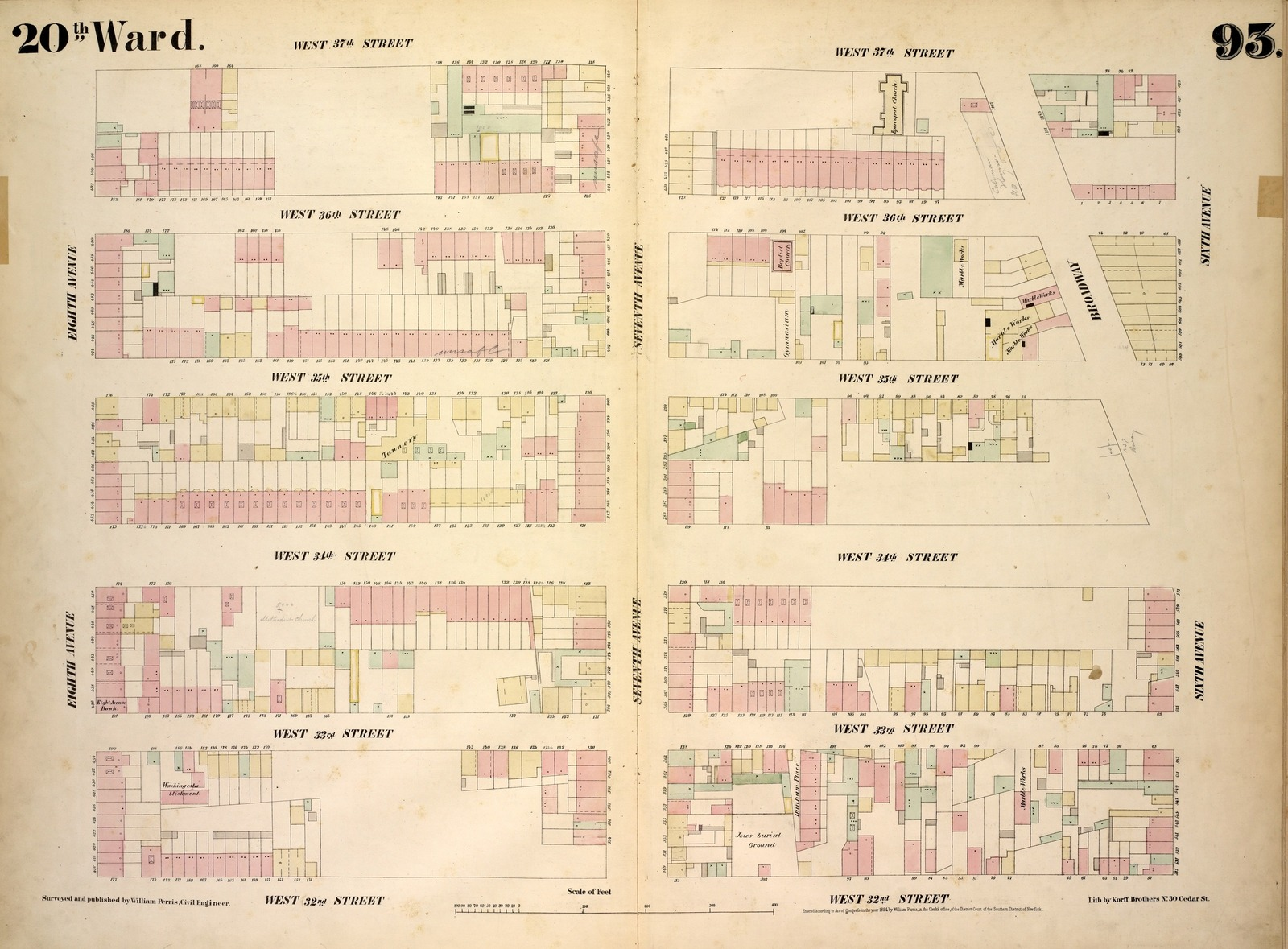 [Plate 93: Map bounded by West 37th Street, Sixth Avenue, West 32nd Street, Eighth Avenue.]