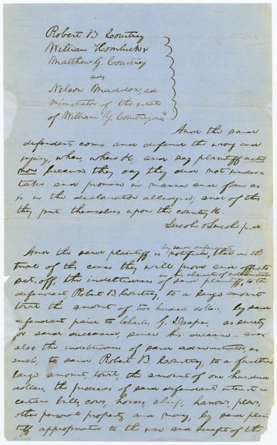 Plea and notice in case of Robert B. Courtney and others against Nelson Maddox, administrator of the estate of William T. Courtney