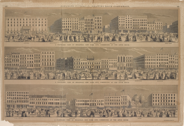 A panoramic view of Broadway, New York City, commencing at the Astor House. [Repeated under each one of the three pictures on this sheet.]