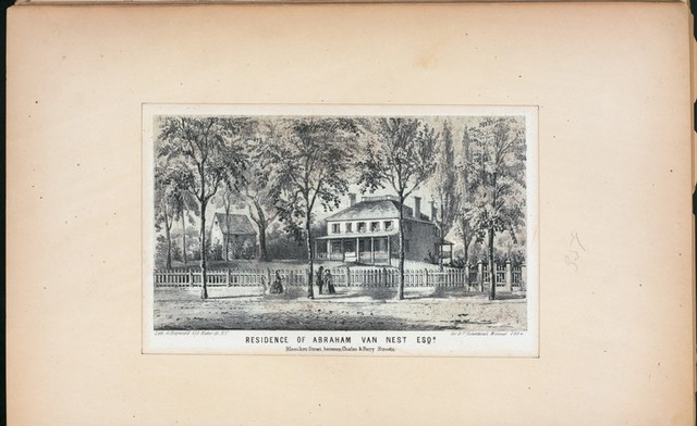 Residence of Abraham Van Nest, Bleeker Street, between Charles and Perry Streets.