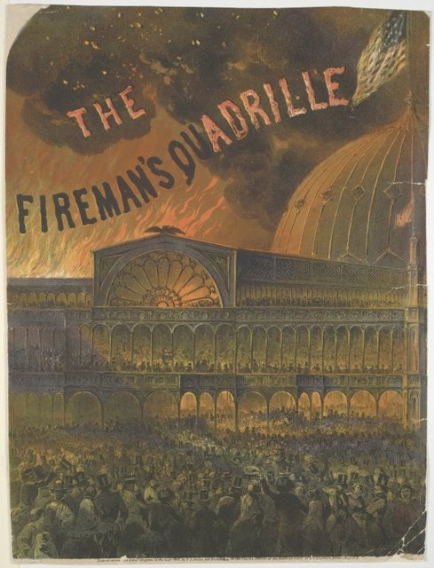 The fireman's quadrille. View of the Crystal Palace, before which a large crowd. Flames beyond, against sky