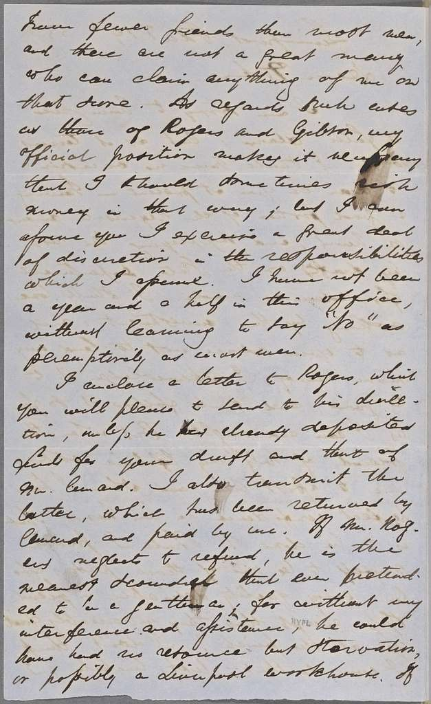Ticknor, [William D.], ALS to. Jan. 19, 1855.