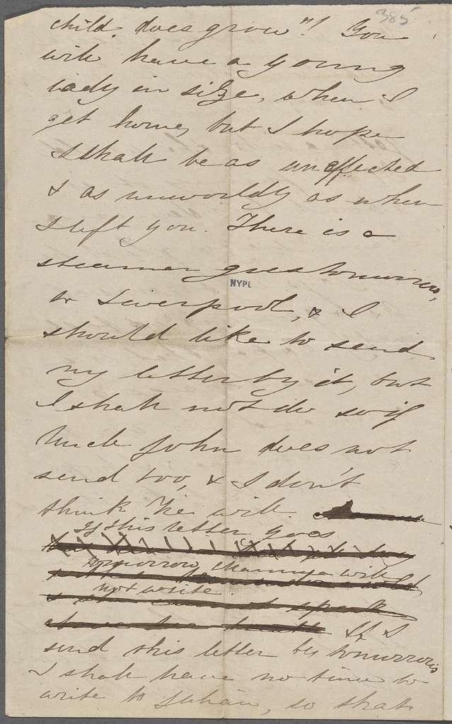 Hawthorne, Una, ALS to NH. Dec. 23, [1855].