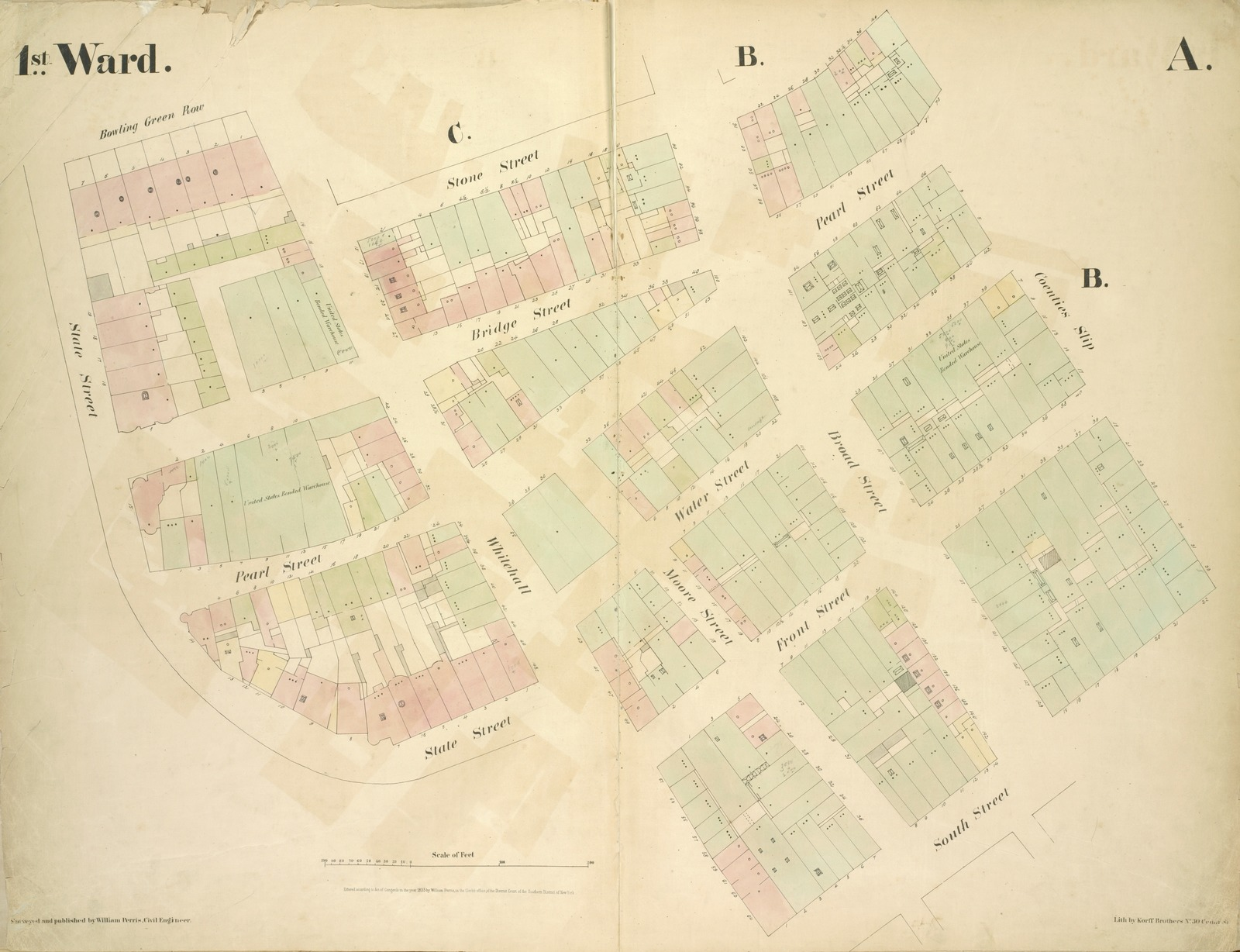 [1st Ward. Plate: A Map bounded by Bowling Green Row, Stone Street, Coenties Slip, South Street, Whitehall, State Street; Including Bridge Street, Pearl Street, Water Street, Front Street, Moore Street, Broad Street]