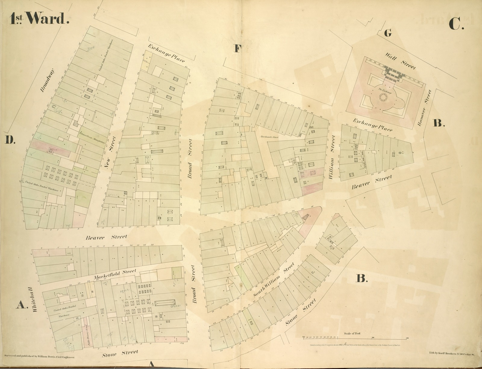 [1st Ward. Plate C: Map bounded by Exchange Place, William Street, Wall Street, Hanover Street, Beaver Street, Stone Street, Whitehall, Broadway; Including New Street, Broad Street, Marketfield Street, South William Street]