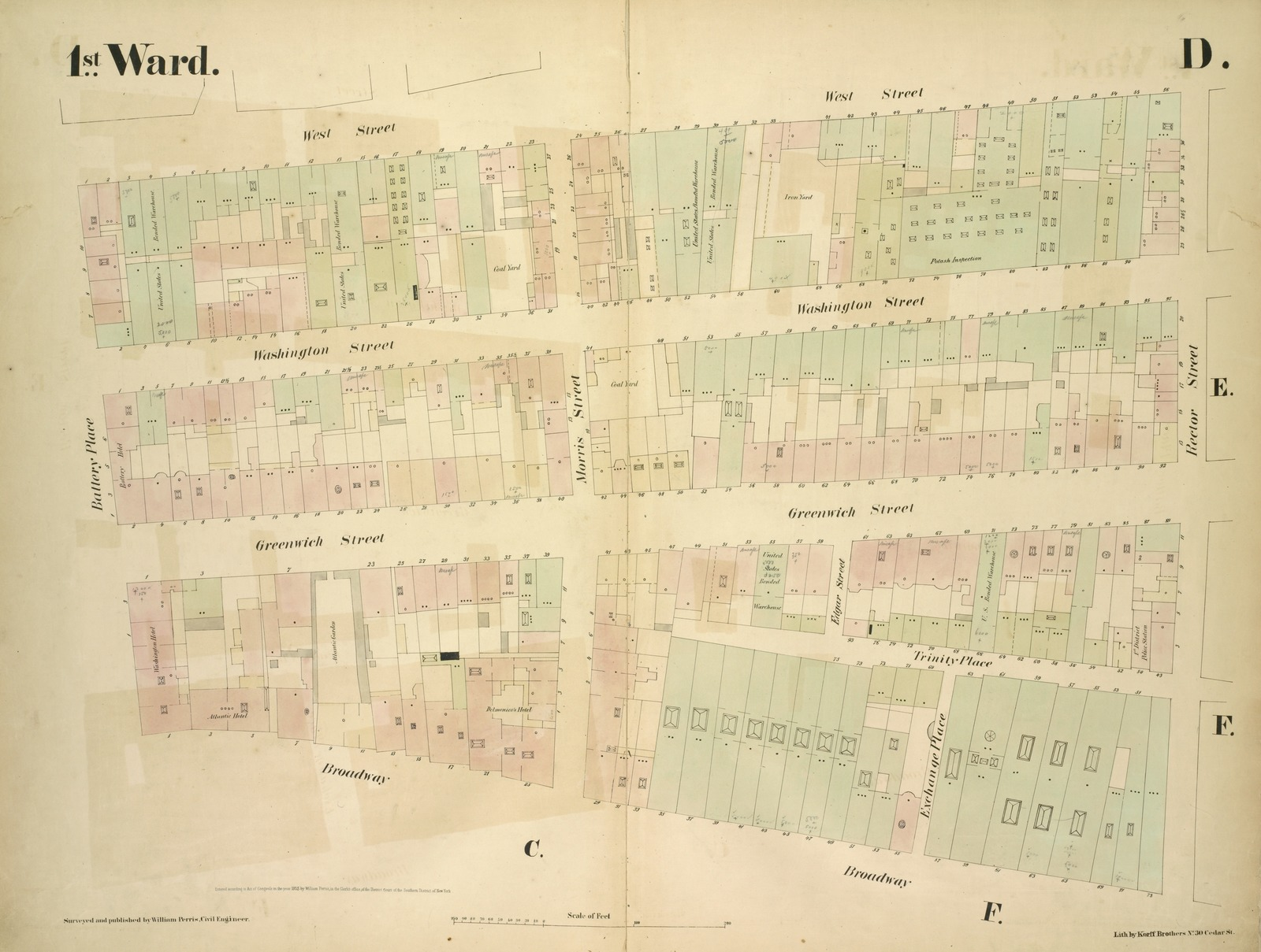 [1st Ward. Plate D: Map bounded by West Street, Rector Street, Broadway, Battery Place; Including Washington Street, Greenwich Street, Trinity Place, Morris Street, Edgar Street, Exchange Place]