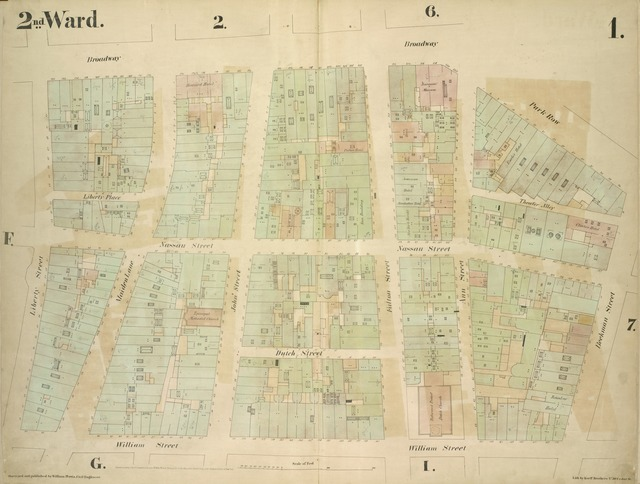 [2nd Ward. Plate 1: Map bounded by Broadway, Parks Row, Beekman Street, William Street, Liberty Street; Including Nassau Street, Theater Alley, Dutch Street, Maiden Lane, John Street, Fulton Street, Ann Street]