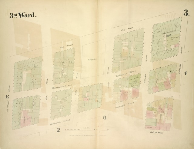 [3rd Ward. Plate 3: Map bounded by West Street, Robinson Street, College Place, Barclay Street, Greenwich Street, Courtland Street; Including Washington Street, Dey Street, Fulton Street, Vesey Street]