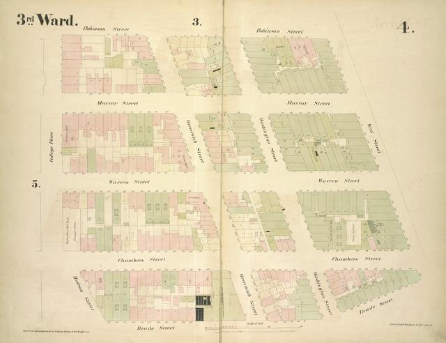 [3rd Ward. Plate 4: Map bounded by Robinson Street, West Street, Reade Street, Hudson Street, College Place; Including Murray Street, Warren Street, Chambers Street, Greenwich Street, Washington Street]