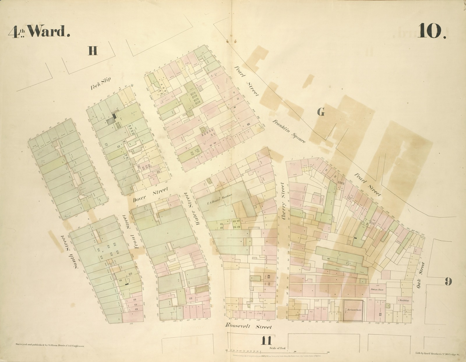 [4th Ward. Plate 10: Map bounded by Peck Slip, Pearl Street, Franklin Square, Pearl Street, Oak Street, Roosevelt Street, South Street; Including Dover Street, Front Street, Water Street, Cherry Street]