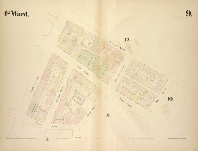 [4th Ward. Plate 9: Map bounded by Roosevelt Street, Oak Street, Pearl Street, Rose Street, Duane Street, Chatham Street; Including William Street, Madison Street]