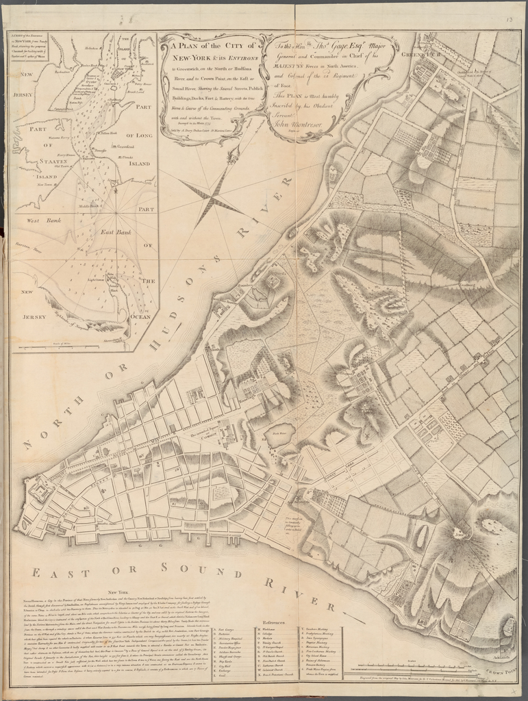 A Plan of the City of New-York & its Environs to Greenwich, on the North or Hudsons River, and to Crown Point, on the East or Sound River, Shewing the Several Streets, Publick Buildings, Docks, Fort & Battery with the true Form & Course of the Commanding Grounds, with and without the Town. Surveyed in the Winter, 1775.