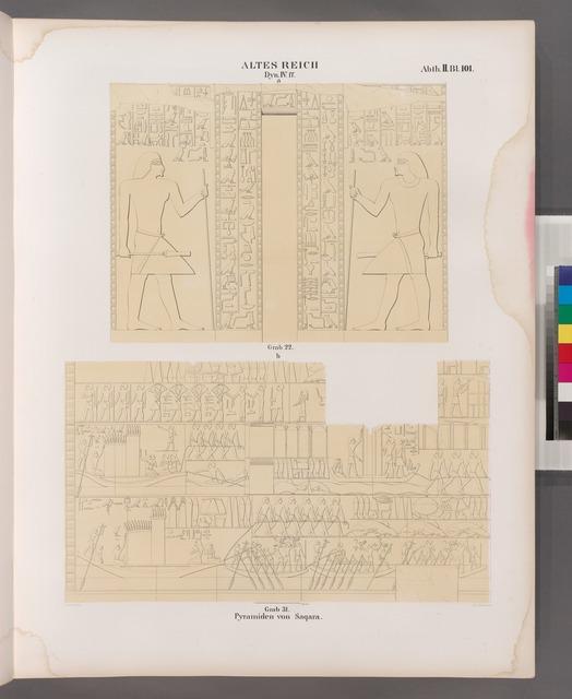 Altes Reich. Dynastie IV. ff.  Pyramiden von Saqara [.Saqqârah]:  a.  Grab 22.;  b. Grab 31.