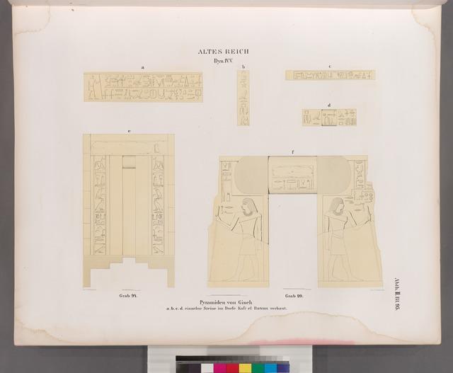 Altes Reich. Dynastie IV, V.  Pyramiden von Giseh [Jîzah]:  a. b. c. d.  einzelne Steine im Dorfe Kafr el Batran verbaut,  e. Grab 94.;  f.  Grab 99.