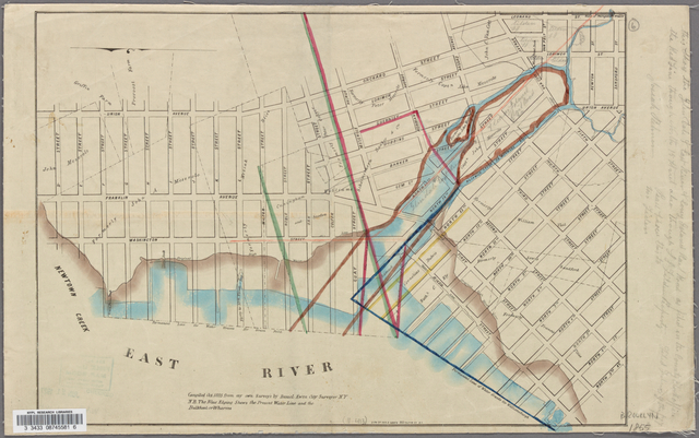 "Map showing a part of Brooklyn, with pencil notation: ""This shows the Glen Dale & East River & Coney Island Rail Road as filed in the County Clerk's Office . . ."""