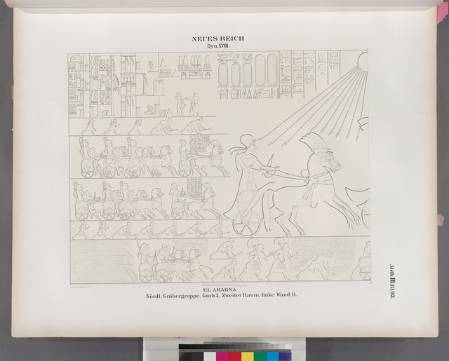 Neues Reich. Dynastie XVIII.  El Amarna [Tell el-Amarna]. Nördliche Gräbergruppe. Grab 3. Zweiter Raum, linke Wand B.