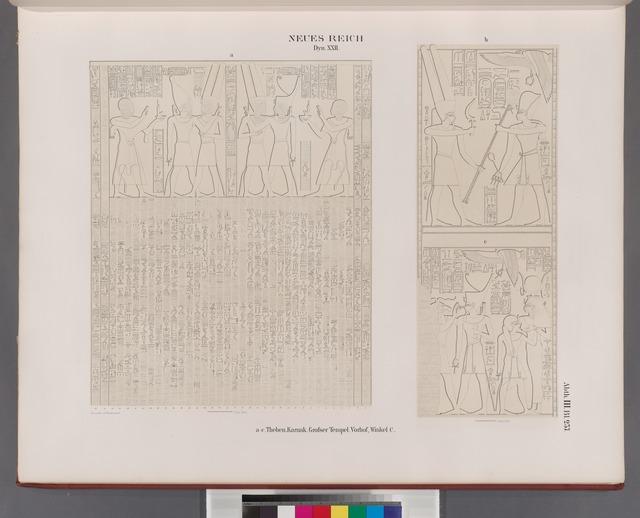 Neues Reich. Dynastie XXII.  a-c. Theben [Thebes]. Karnak. Grosser Tempel. Vorhof, Winkel C.