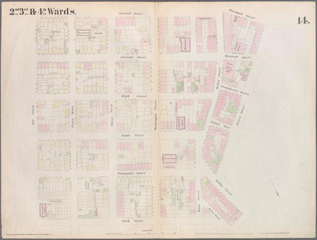 [Plate 14: Map bounded by Market, James Street, York Street, Jay Street, Concord Street, Fulton Avenue, Pineapple Street, Henry Street, Fulton Avenue.]