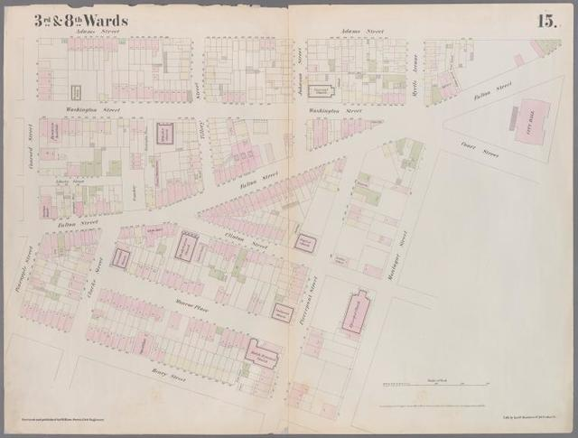 [Plate 15: Map bounded by Pineapple Street, Fulton Avenue, Concord Street, Adams Street, Willoughby Street, Court Street, Montague Street, Henry Street.]