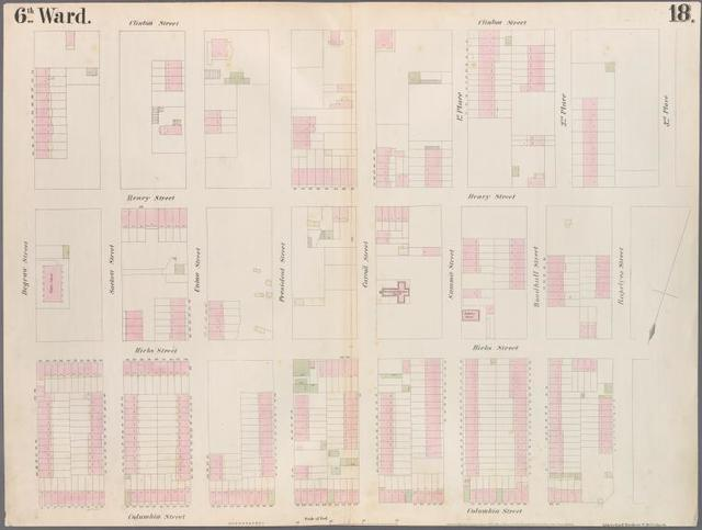 [Plate 18: Map bounded by Degraw Street, Clinton Street, Third Place, Rapelye Street, Columbia Street.]