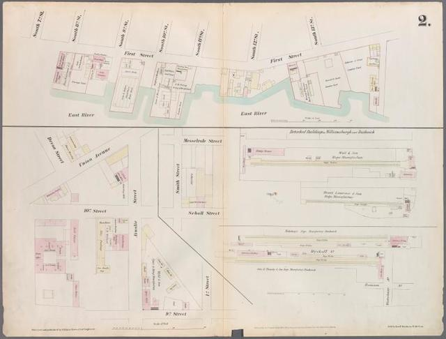 [Plate 2: Map bounded by South 8th Street, 1st Street, Division Street, Devoe Street, Union Avenue, Ainslie Street, 1st Street, 9th Street, Smith Street, Messerole Street, Scholl Street, Waterbury Street, Remsen Street, Wyckoff Street.]