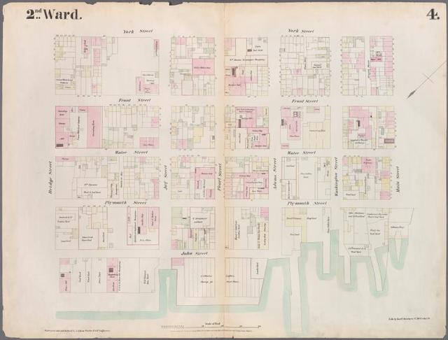 [Plate 4: Map bounded by East River, Bridge Street, York Street, Main Street.]