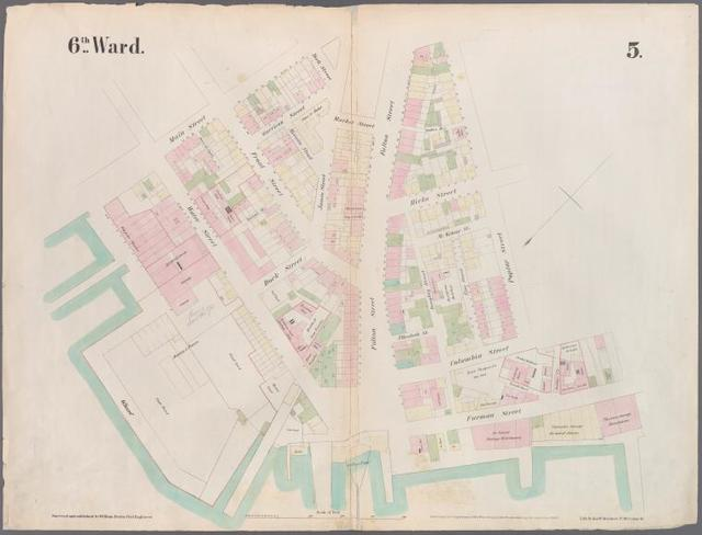 [Plate 5: Map bounded by East River, Main Street, York Street, James, Street, Market.]