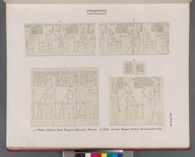 Ptolemaeer. Ptol. IX Euergetes II.  a-c. Theben [Thebes]. Medînet Hâbu. Tempel LL, Raum D. [c] Raum C;  d.e. Edfu [Idfû]. Grosser Tempel, aeussere Westwand der Cella.