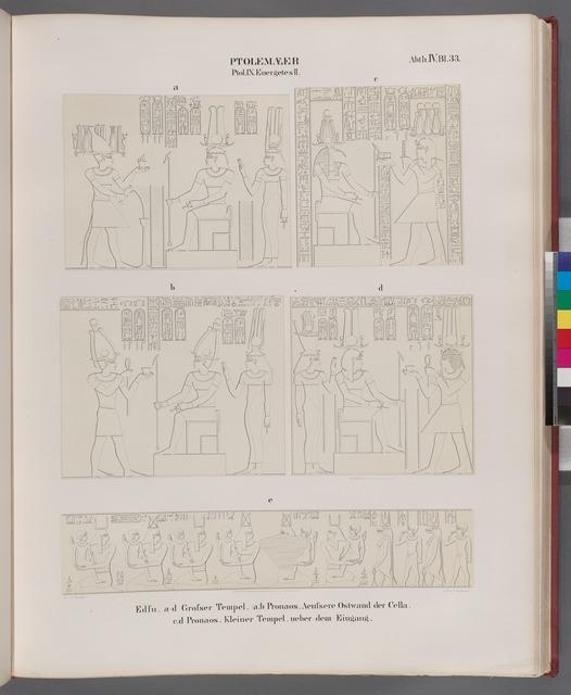 Ptolemaeer. Ptol. IX Euergetes II.  Edfu [Idfû]: a-d. Grosser Tempel.  [a.b.]Pronaos, aeussere Ostwand der Cella; c.d. Pronaos. Kleiner Tempel, über dem Eingang.