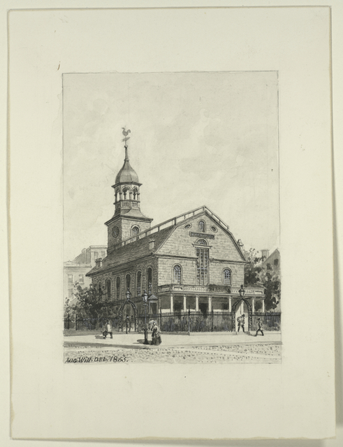 [The New York Post Office on Nassau Street, formerly the New and later the Middle Dutch Church.]